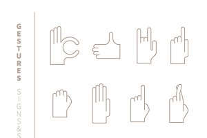 Hand gestures iconset lineart