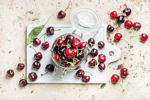 Sweet cherry in glass jar