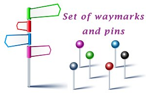 Set of color waymarks and pins
