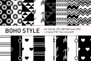 Boho-style black pattern set