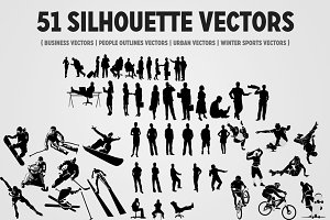 51 Silhouettes Mega Vector Pack