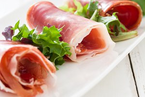 Spanish serrano ham and salad