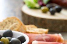 Spanish serrano ham and sausage