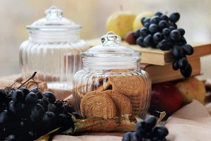 Glass jars with cookies