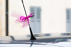 Pink wedding ribbon on an antenna