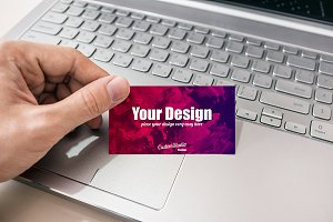 Business card man's hand psd Mockup