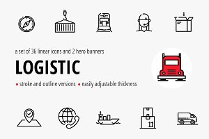 Logistic. Vector banner/icons set.