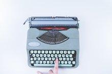 Hero Image. Typewrite machine. Desk