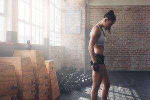 Muscular female athlete
