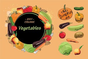 Vegetables set with Text Vector