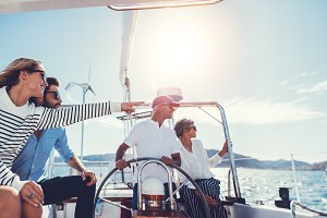 Group of people traveling in a yacht