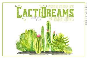Cacti Dreams Watercolor Clip art