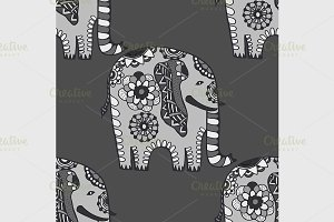 Hand Drawn Ethnic Elephant.