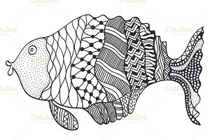 doodle fish illustration.