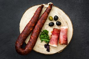 Spanish serrano ham and sausage