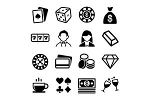 Gambling and Casino Icons Set