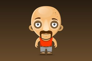 Bald Man Cartoon Character