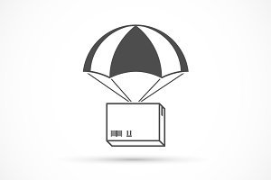 Box on a parachute icon