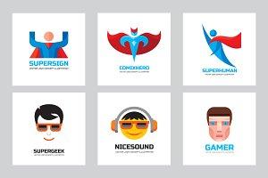 Human heads & Comix Heroes Logo Set