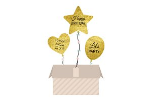Gold Birthday Balloons with Box