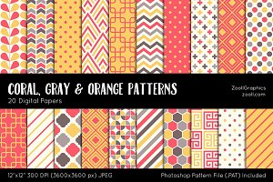 Coral, Gray & Orange Digital Papers