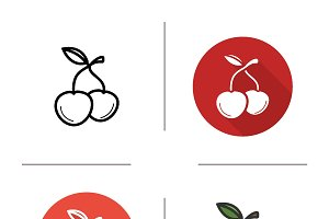 Cherries icons. Vector