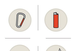 Camping equipment icons. Vector