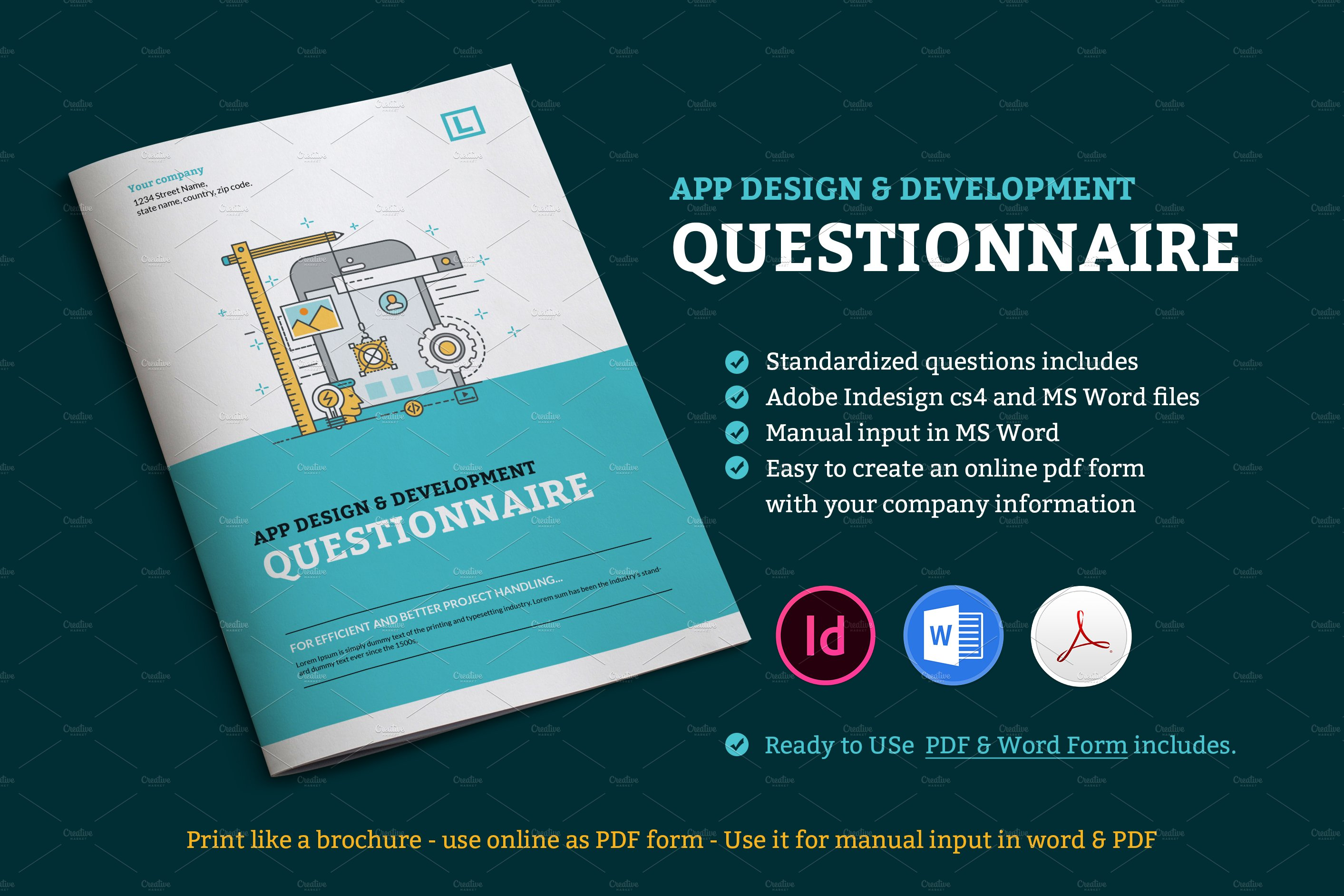 app design questionnaire stationery templates creative market