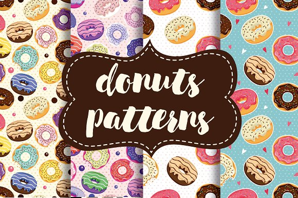 Cute donuts with colorful glazing