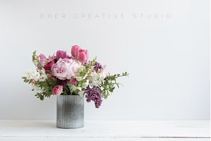 Floral Styled Image Peonies & Tulips