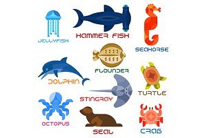 Cartoon marine animals icons
