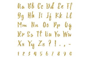 Gold dotted confetti alphabet