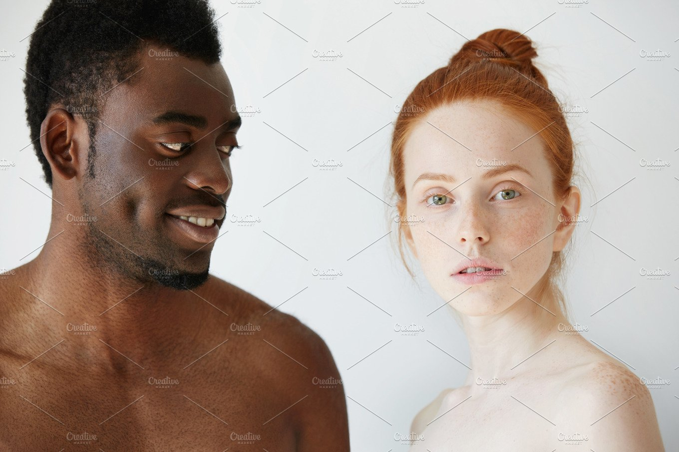 Portrait Of Happy Loving Interracial Couple Shirtless African Man Looking At His Nude -9155
