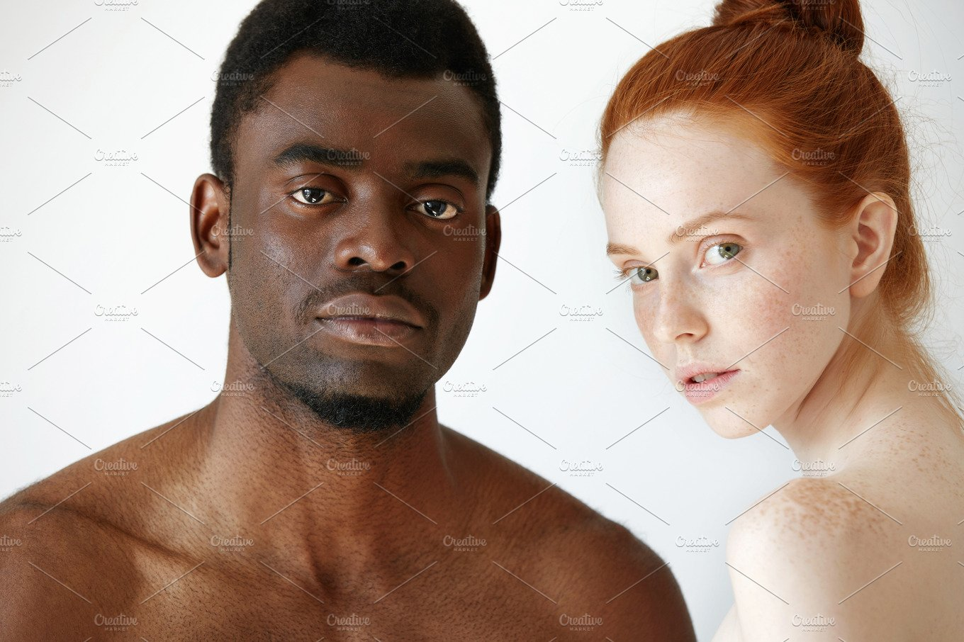 Close Up Shot Of Black Male And White Female Posing -1571