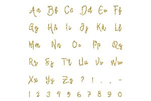 Gold alphabet isolated
