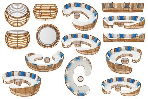 Patio furniture, set objects