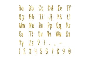 Gold dotted, confetti alphabet