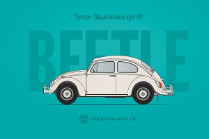 VW Beetle vector blueprint