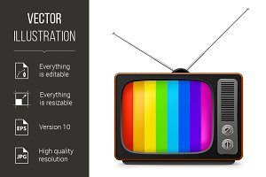 Realistic vintage TV with color fram
