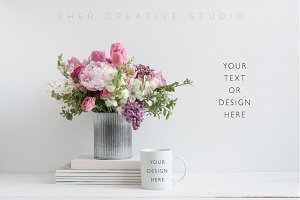 Mug Mockup, Floral Styled Image