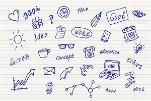Business, doodle sketch elements
