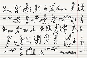 Doodle people in motions, vector