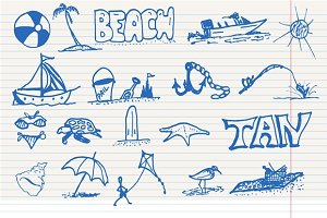Doodle Beach elements, vector