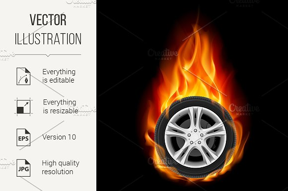 Car Wheel on Fire in Graphics