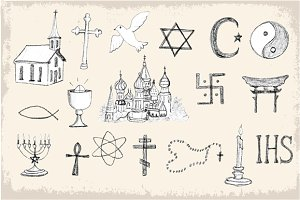 Doodle vector religion elements