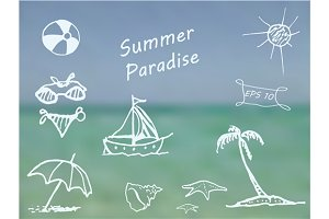 Doodle Summer Paradise vector