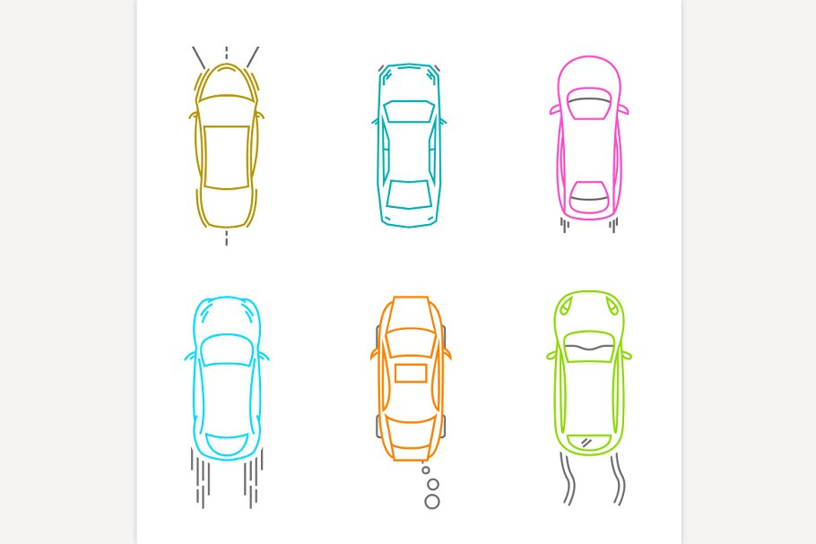Car Top View Icons Illustrations Creative Market