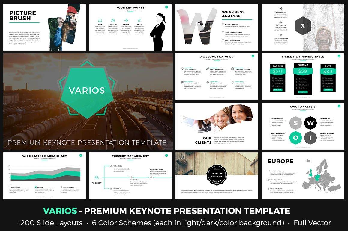 VARIOS Premium Keynote Presentation Templates Creative Market