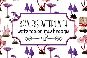 Seamless pattern with mushrooms