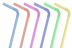 Cocktail straws isolated